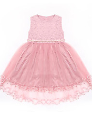 cheap -Kids Girls' Cute / Active Holiday Solid Colored Lace / Print Sleeveless Knee-length Dress / Cotton
