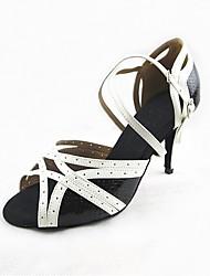 Недорогие -Жен. Обувь для латины Дерматин Сандалии / На каблуках Планка Тонкий высокий каблук Персонализируемая Танцевальная обувь Черно-белый