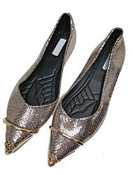 abordables -Femme Chaussures Polyuréthane Automne Confort Ballerines Talon Plat pour Décontracté Noir Gris foncé