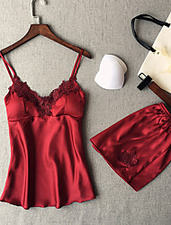 cheap -Women's Suits Satin & Silk Nightwear - Lace, Solid Colored