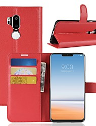 cheap -Case For LG K10 2018 / G7 Wallet / Card Holder / Flip Full Body Cases Solid Colored Hard PU Leather for LG X venture / LG V30 / LG V20