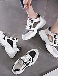 baratos -Mulheres Sapatos Pele / Pele Napa Primavera / Outono Conforto Tênis Sem Salto para Casual Preto / Arco-íris