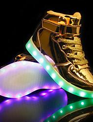 Недорогие -Универсальные Обувь Полиуретан Лето / Осень Обувь с подсветкой Кеды На плоской подошве Круглый носок Белый / Черный / Серебряный