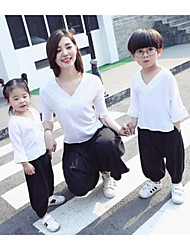 cheap -Adults / Kids Girls' Solid Colored 3/4 Length Sleeve Clothing Set