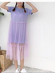 お買い得  -女性用 活発的 ブラウス - メッシュ, ソリッド ドレス