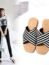 cheap -Women's Shoes Nappa Leather Leather Summer Comfort Slippers & Flip-Flops Flat Heel for Black Black / White