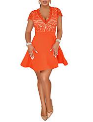 baratos -Mulheres Básico Sofisticado Evasê Chifon Vestido - Renda Vazado, Sólido Acima do Joelho