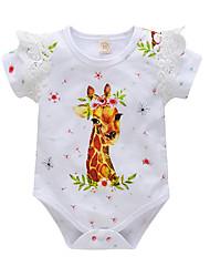 Недорогие -малыш Девочки Активный С принтом Оборки / С принтом Короткие рукава Хлопок Bodysuit