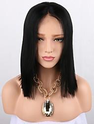 Недорогие -Синтетические кружевные передние парики Прямой Стрижка боб 150% Человека Плотность волос Искусственные волосы Парик в афро-американском стиле Черный Парик Жен. Очень длинный Лента спереди Черный