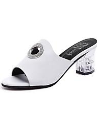 baratos -Mulheres Sapatos Glitter Couro Ecológico Verão Outono Chanel Conforto Sandálias Caminhada Salto Alto de Cristal Dedo Aberto Peep Toe