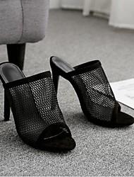 baratos -Mulheres Sapatos Pele Nobuck Primavera Verão Conforto Sandálias Salto Agulha Dedo Aberto para Ao ar livre Preto