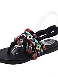 cheap -Women's Shoes Elastic Satin Summer Gladiator Sandals Flat Heel Round Toe Tassel Black