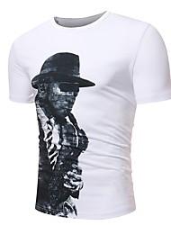 baratos -Homens Camiseta Básico / Temática Asiática Estampa Colorida / Retrato Preto & Branco