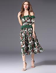 abordables -Mujer Bonito Línea A Vestido - Espalda al Aire / Estampado, Floral Midi