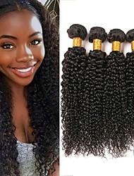 Недорогие -4 Связки Бразильские волосы Kinky Curly Натуральные волосы Человека ткет Волосы Накладки из натуральных волос 8-28 дюймовый Естественный цвет Ткет человеческих волос Женский Удлинитель Лучшее качество
