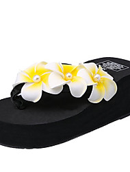 cheap -Women's Shoes PU(Polyurethane) Summer Comfort Slippers & Flip-Flops Wedge Heel White / Black / Pink