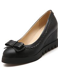 baratos -Mulheres Sapatos Couro Ecológico Outono Plataforma Básica Saltos Salto Plataforma Dedo Apontado Botas Cano Médio Laço Preto / Bege / Rosa