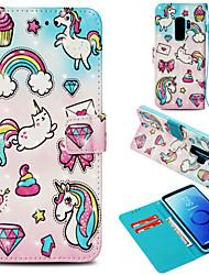 baratos -Capinha Para Samsung Galaxy S9 Plus / S9 Carteira / Porta-Cartão / Com Suporte Capa Proteção Completa Unicórnio Rígida PU Leather para S9 / S9 Plus / S8 Plus