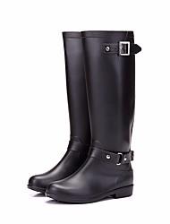Недорогие -Жен. Обувь КожаПВХ Осень Резиновые сапоги Ботинки На низком каблуке Сапоги до колена Черный / Коричневый