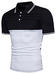 Недорогие -Муж. Polo Хлопок, Рубашечный воротник Тонкие Классический Контрастных цветов / С короткими рукавами
