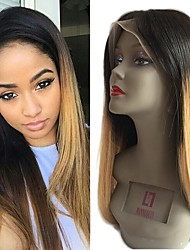 cheap -Remy Human Hair Lace Front Wig Wig Brazilian Hair Straight 130% Density With Baby Hair / Natural Hairline / Unprocessed Light Brown Women's Short / Long / Mid Length Human Hair Lace Wig