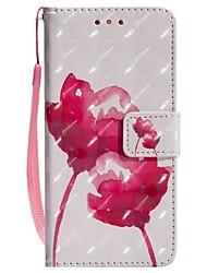 baratos -Capinha Para Huawei P20 lite P20 Porta-Cartão Carteira Com Suporte Flip Magnética Capa Proteção Completa Flor Rígida PU Leather para