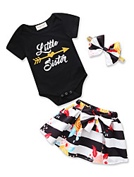 cheap -Baby Girls' Black & White Striped / Print Short Sleeve Clothing Set