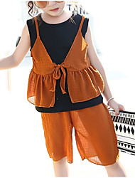 cheap -Toddler Girls' Active Color Block Sleeveless Clothing Set
