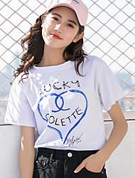 billige -Dame - Ensfarvet Trykt mønster Aktiv / Basale T-shirt Blå & Hvid