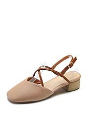 お買い得  -女性用 靴 レザー 夏 コンフォートシューズ サンダル チャンキーヒール のために アウトドア / パーティー ベージュ / アーモンド