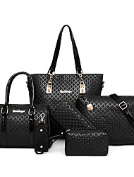 baratos -Mulheres Bolsas PU Conjuntos de saco 6 Pcs Purse Set Com Relevo para Compras / Ao ar livre Cinzento / Roxo / Marron