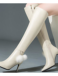 cheap -Women's Shoes Nappa Leather / Cowhide Winter Fashion Boots Boots Stiletto Heel Over The Knee Boots Black / Beige