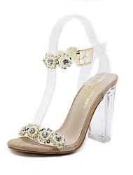 cheap -Women's Shoes Fleece Summer Basic Pump Sandals Chunky Heel Open Toe Rhinestone / Buckle for Outdoor Gold / Silver