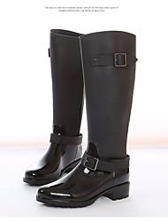baratos -Mulheres Sapatos Borracha Outono Botas de Chuva Botas Salto Robusto Botas Cano Alto Preto / Vinho