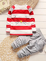 cheap -Boys' Daily Going out Striped Cartoon Clothing Set, Cotton Acrylic All Seasons Long Sleeves Cute Casual Active Black Red