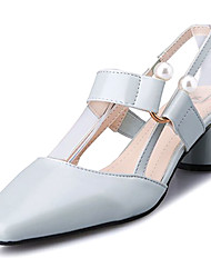 cheap -Women's Shoes PU(Polyurethane) Summer Basic Pump Heels Block Heel Imitation Pearl Beige / Light Blue