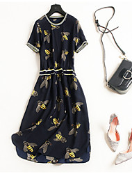 cheap -Miss French Women's Vintage / Basic A Line Dress - Geometric Lace up