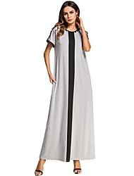 baratos -Mulheres Solto Reto Vestido - Patchwork, Estampa Colorida Longo Preto e cinza