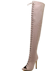 cheap -Women's Shoes Fur Fall Comfort / Basic Pump Boots Stiletto Heel Peep Toe Over The Knee Boots Black / Almond