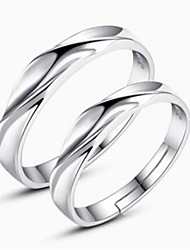 cheap -Couple's Couple Rings - Sterling Silver Twist Circle Classic, Fashion Adjustable Silver For Daily