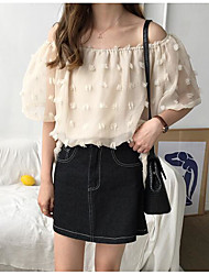 cheap -Women's Vintage Blouse - Solid Colored Black & White, Tassel