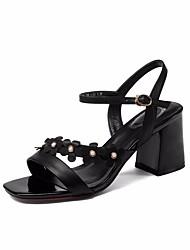 preiswerte -Damen Schuhe Leder Sommer Pumps Komfort Sandalen Blockabsatz für Weiß Schwarz