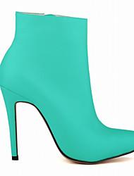 billige -Dame Sko PU Efterår vinter Gladiator Støvler Stilethæle Spidstå Ankelstøvler for Fest / aften Lys pink / Mandel / Mørkegrøn