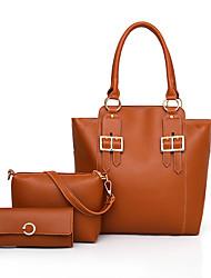 baratos -Mulheres Bolsas PU Conjuntos de saco 3 Pcs Purse Set Cor Única Rosa / Cinzento / Marron