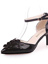 Недорогие -Жен. Обувь Полиуретан Весна лето Удобная обувь Обувь на каблуках Для прогулок На шпильке Заостренный носок Цветы из сатина Черный / Серый