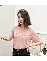 abordables -Mujer Algodón Camiseta Floral