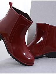 Недорогие -Жен. Обувь ПВХ Весна лето Резиновые сапоги Ботинки На низком каблуке Черный / Красный / Синий