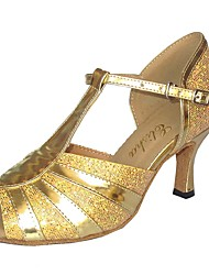 preiswerte -Damen Schuhe für den lateinamerikanischen Tanz Lackleder Absätze Keilabsatz Tanzschuhe Schwarz / Silber / Marineblau