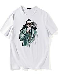 baratos -Homens Camiseta Caveira Moda de Rua Retrato