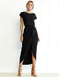 cheap -Women's T Shirt Dress - Solid Colored Asymmetrical